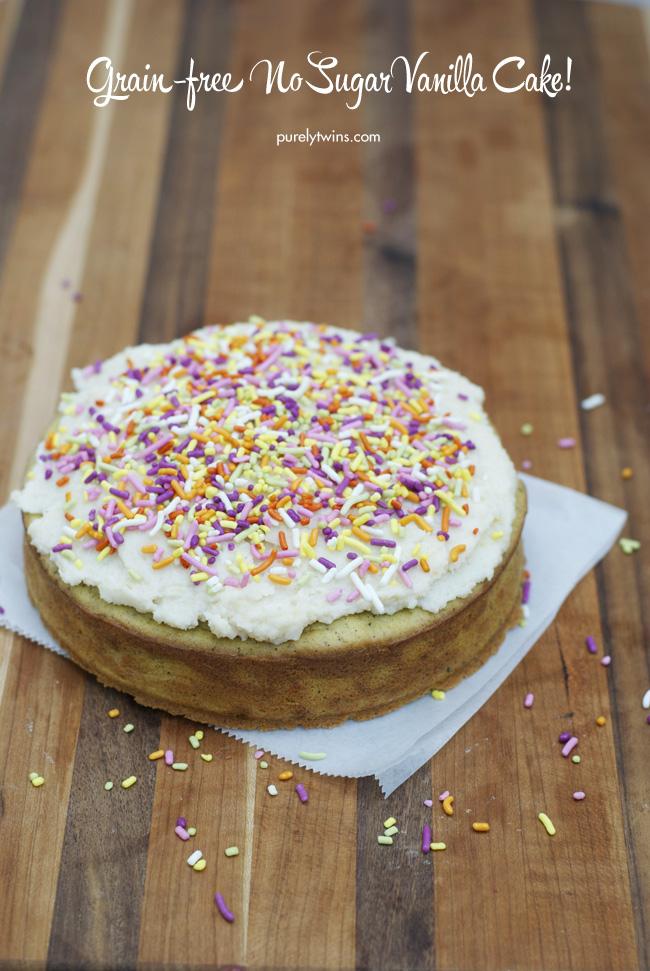 gluten free grain free no sugar vanilla bean coconut butter cake via purelytwins