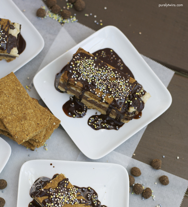 gluten free layered cookie brownie birthday cake purelytwins