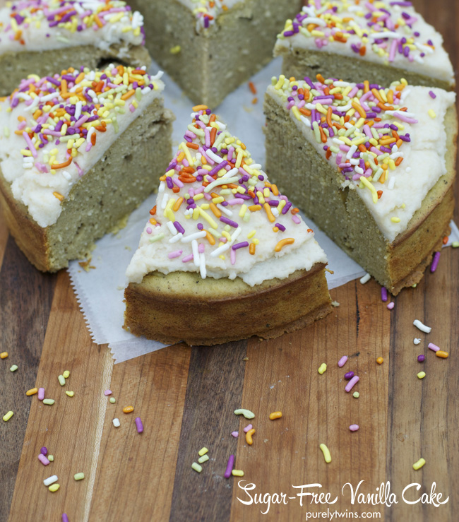 grain free gluten free no sugar vanilla cake with sprinkles via purelytwins