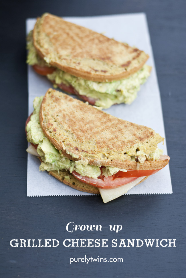 grown up grilled cheese sandwich with avocado and tomato