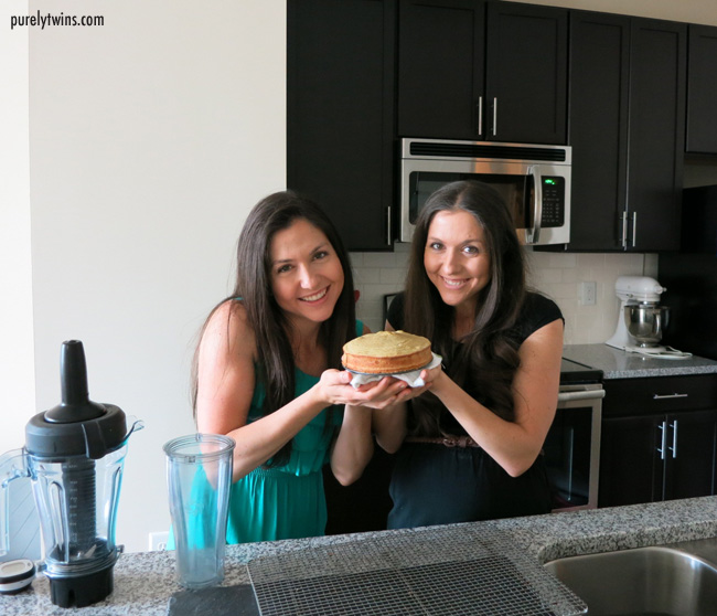 making grain free stevia vanilla cake with purelytwins copy