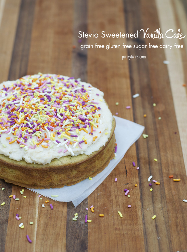 no sugar stevia sweetened grain free coconut butter vanilla cake recipe via purelytwins