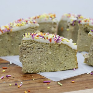 soft moist grain free no sugar vanilla cake with coconut butter frosting sprinkles via purelytwins