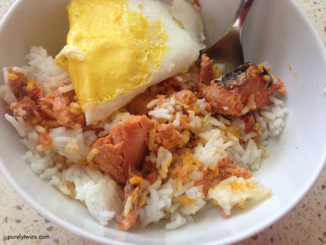 egg salmon rice lunch