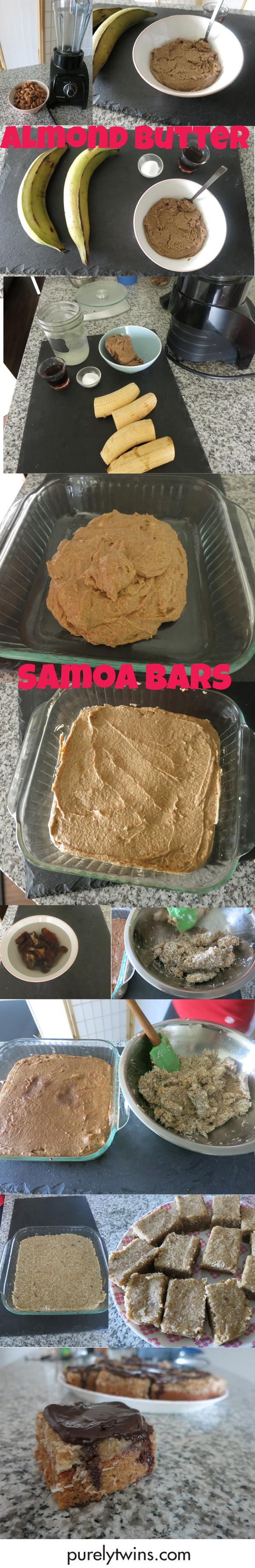 how to make almond butter samoa bars