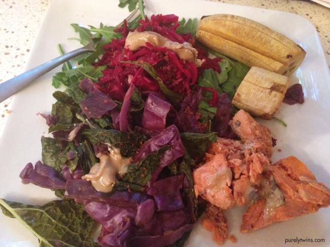 monday salmon plantain veggie dinner