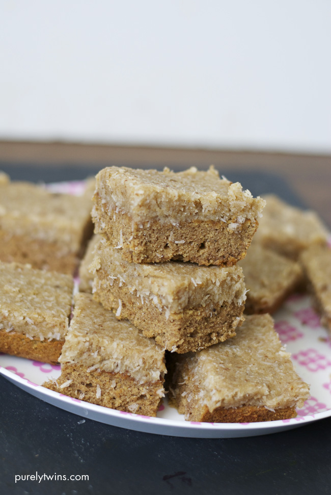 vegan paleo almond butter samoa coconut bars purelytwins