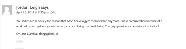 workout comment love