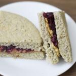 Almond butter & no sugar jelly sandwich. Paleo recipe.