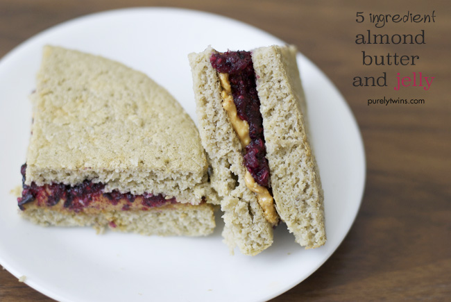 5 ingredient almond butter and jelly sandwich purelytwins