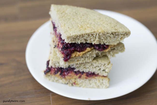 Gluten-free grain-free 5 ingredient almond butter & jelly sandwich