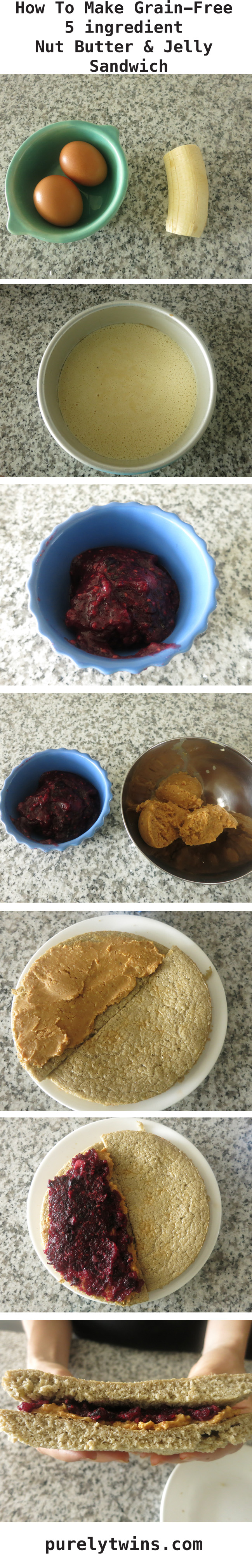 how to make 5 ingredient nut butter and jelly sandwich grain-free purelytwins