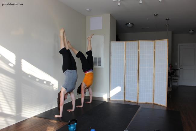 practicing headstands