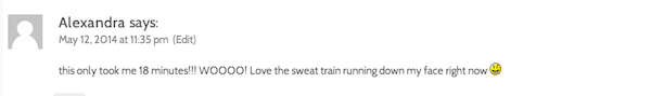 pt 61 workout comment