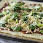 grain-free yeast-free BBQ salmon pizza with homemade BBQ sauce