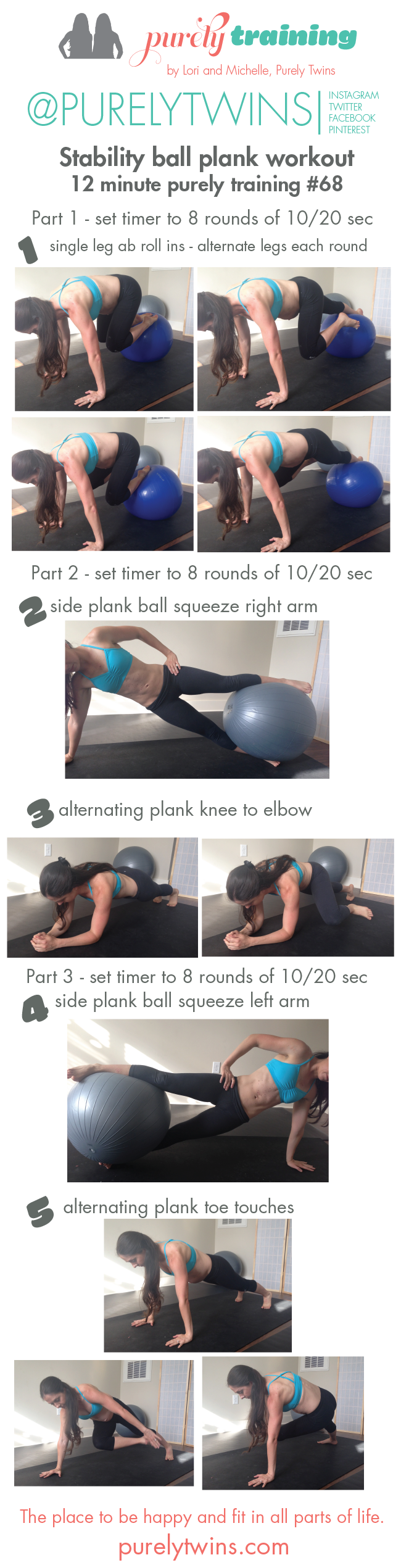 stability ball plank workout PT 68 for a lean mid section