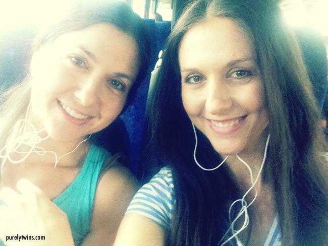 twins listening using koss headphones