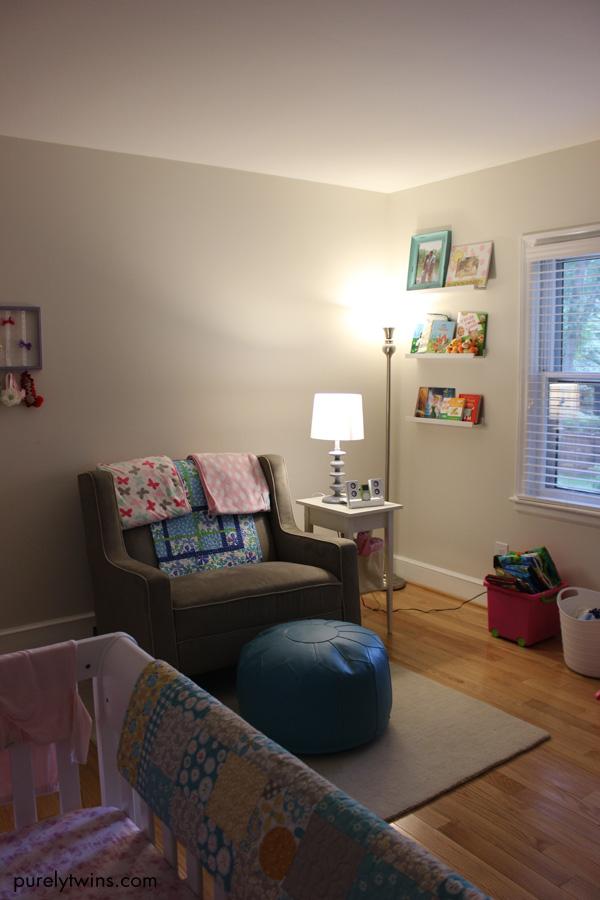 baby nursery girl chair and shelves