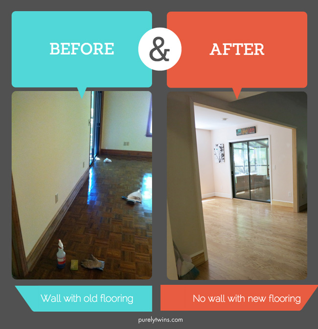 before and after of house remodeling new flooring and wall purelytwins