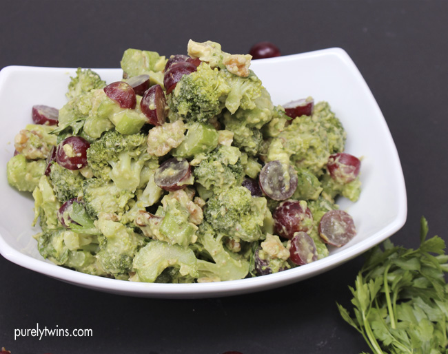 Simple healthy broccoli avocado waldorf salad (gluten-free, grain-free, dairy-free, egg- free)
