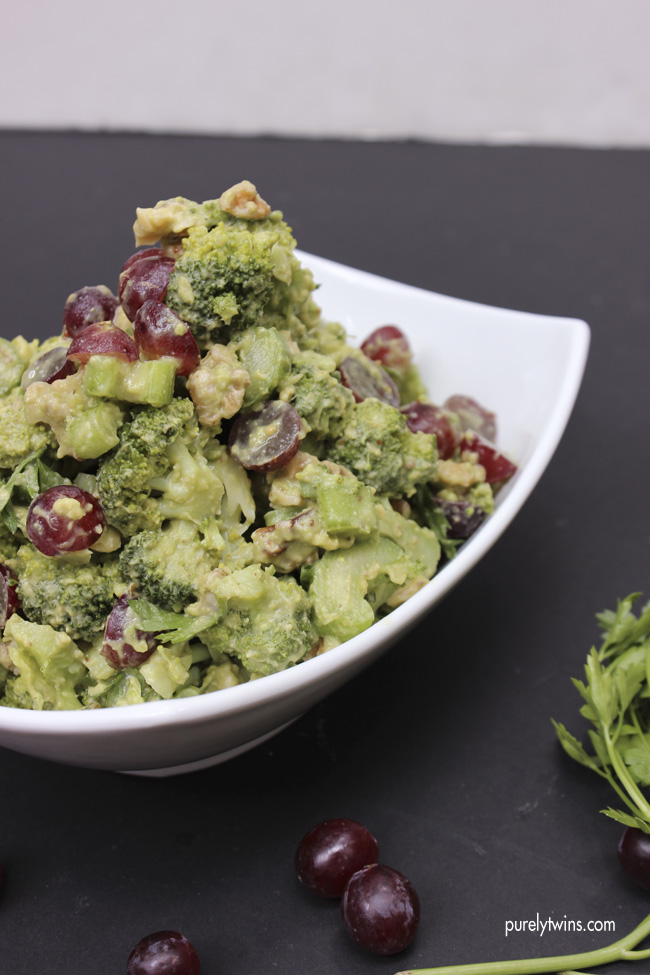 dairy free glutenfree waldorf salad made with avocado and broccoli