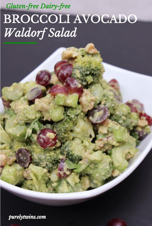 gluten-free dairy-free broccoli avocado waldorf salad purelytwins