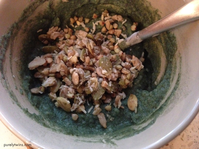 green pudding with granola