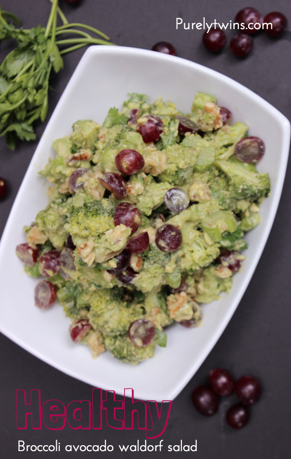 healthy paleo waldorf salad recipe with avocado and broccoli purelytwins