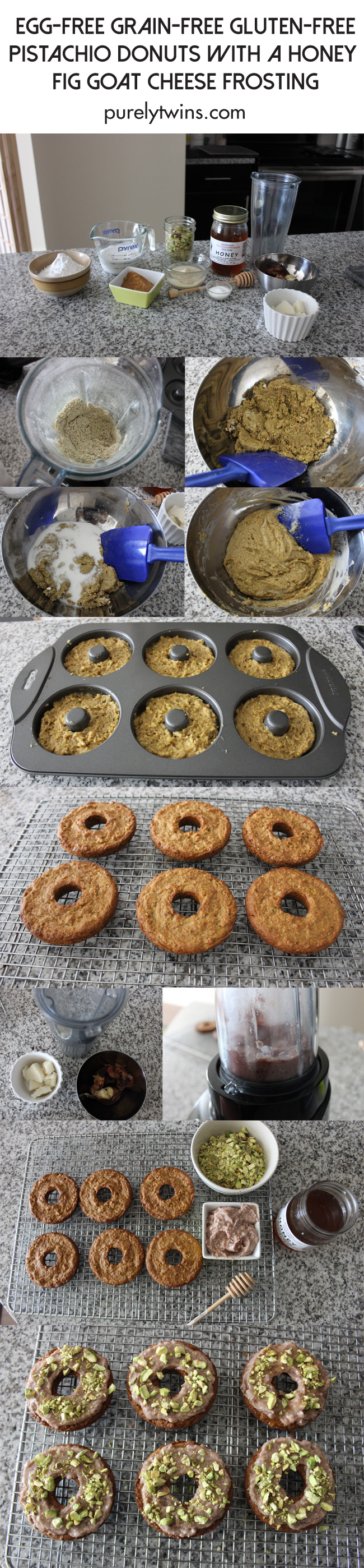 how to make egg-free grain-free fig goat cheese pistachio donuts