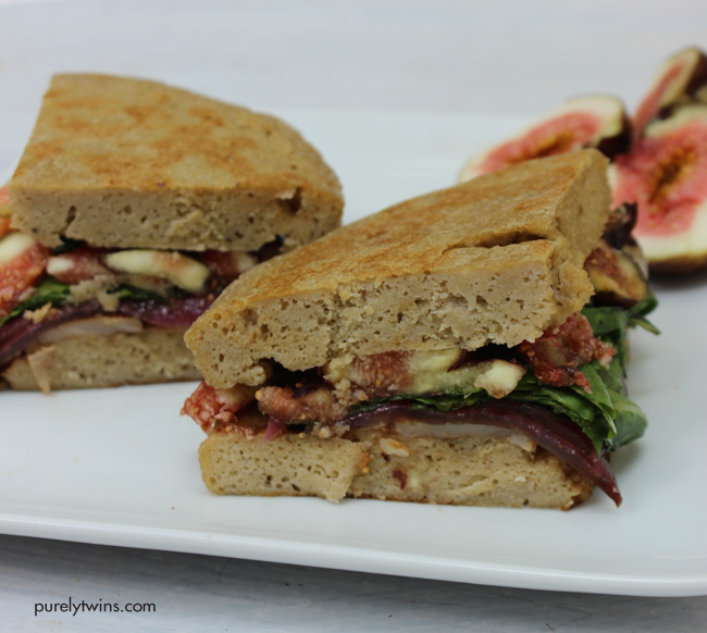 fig goat cheese basil balsamic onion sandwich for one (gluten and grain free)