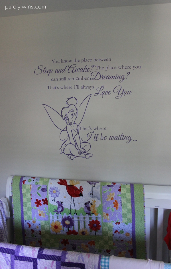 tinker bell quote above baby crib purelytwins