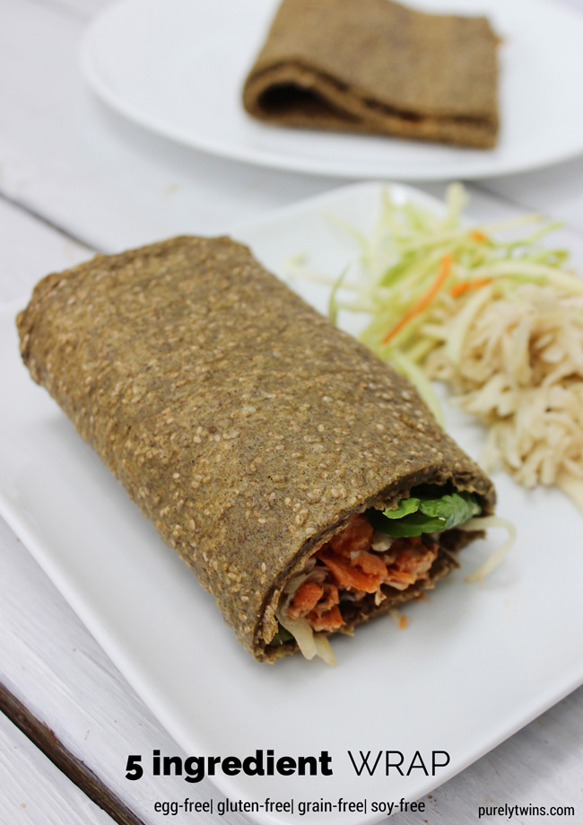 5 ingredient gluten-free wrap made with chia seeds and plantains.