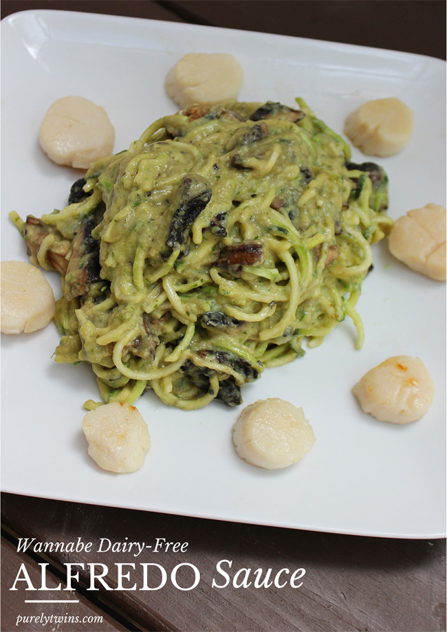 wannabe-dairy-free-alreado-creamy-sauce-with-zucchini-pasta-and-sizzlefish-scallops-dinner-for-two-purelytwins