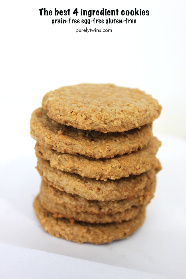 The best 4 ingredient grain-free, egg-free peanut butter cookie recipe that takes only 10 minutes to make.