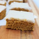 Pumpkin protein bars with creamy coconut frosting