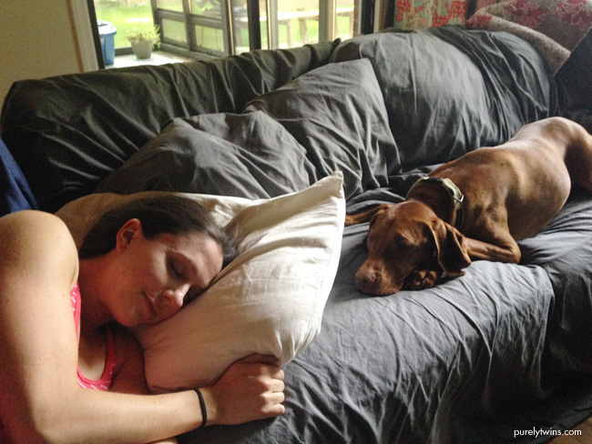 vizsla-next-to-a-new-mom-during-contractions-at-home-birth