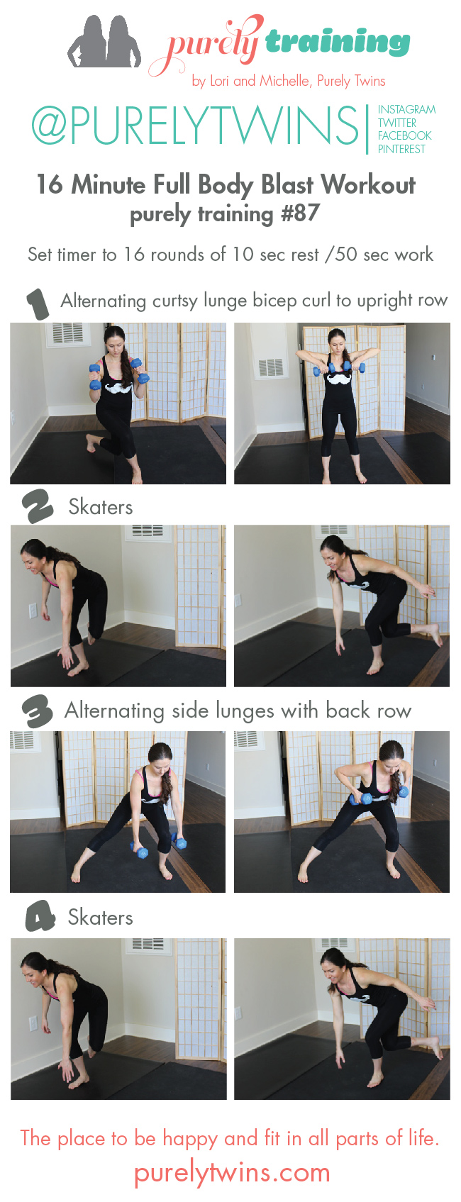 16 minute full body blast workout. Movember workout. Post partum workout for moms. via @purelytwins
