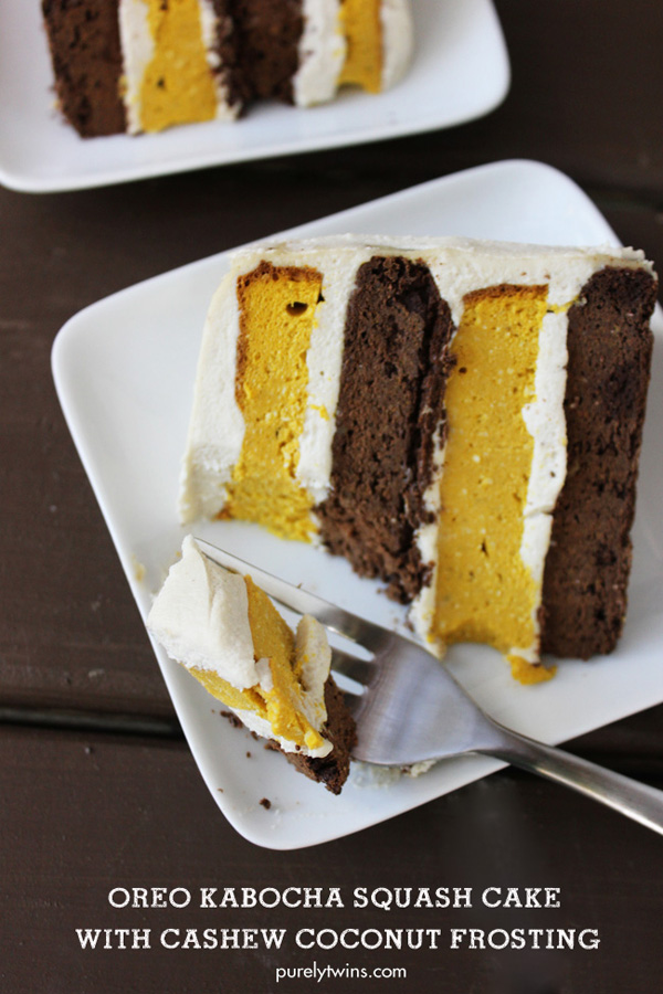 gluten free grain free layered oreo pumpkin cake dairy free coconut frosting