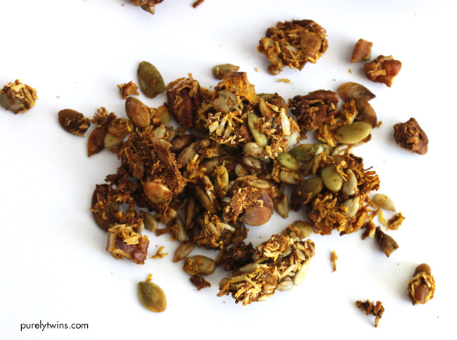 Pumpkin granola made without sugar