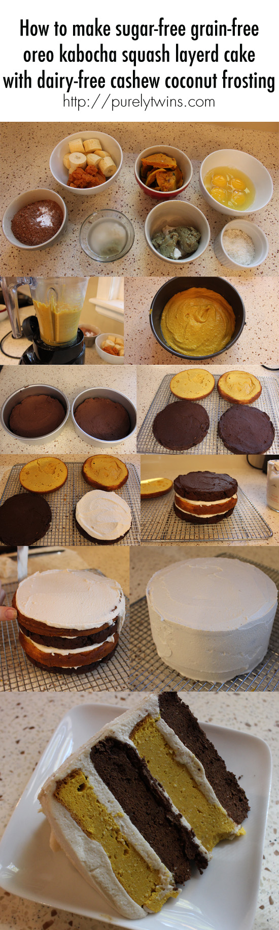 how to make sugar free grain free chocolate oreo kabocha squash layered cake dairy free cashew coconut frosting via @purelytwins