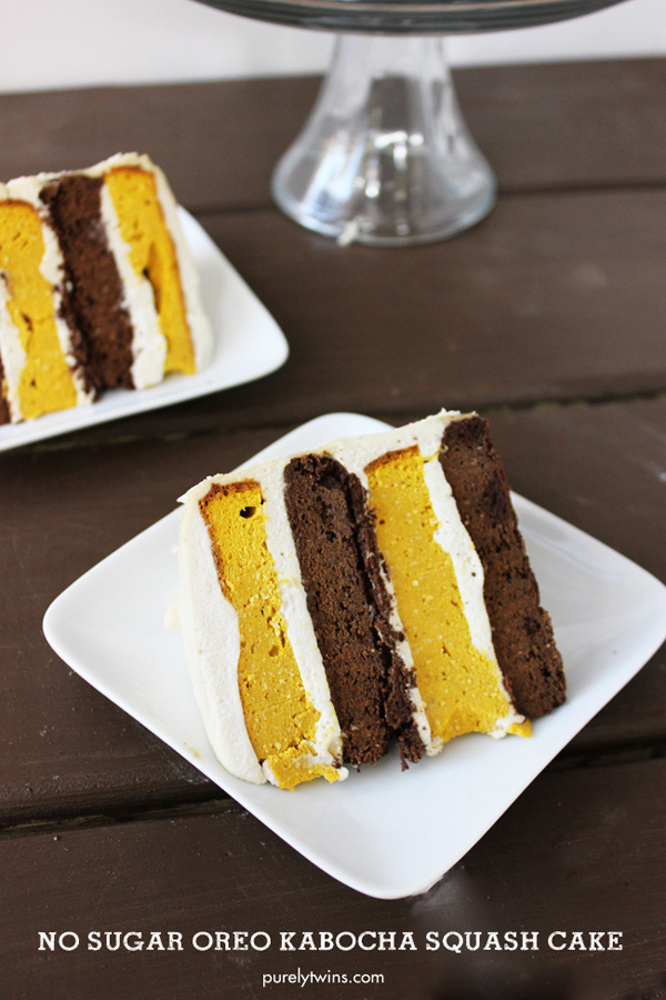 No sugar, gluten-free, grain-free, dairy-free chocolate oreo kabocha squash cake with a dreamy coconut cashew frosting
