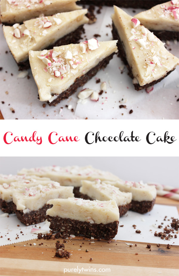 Healthy candy cane chocolate cake recipe that is gluten-free grain-free raw and vegan via @Purelytwins