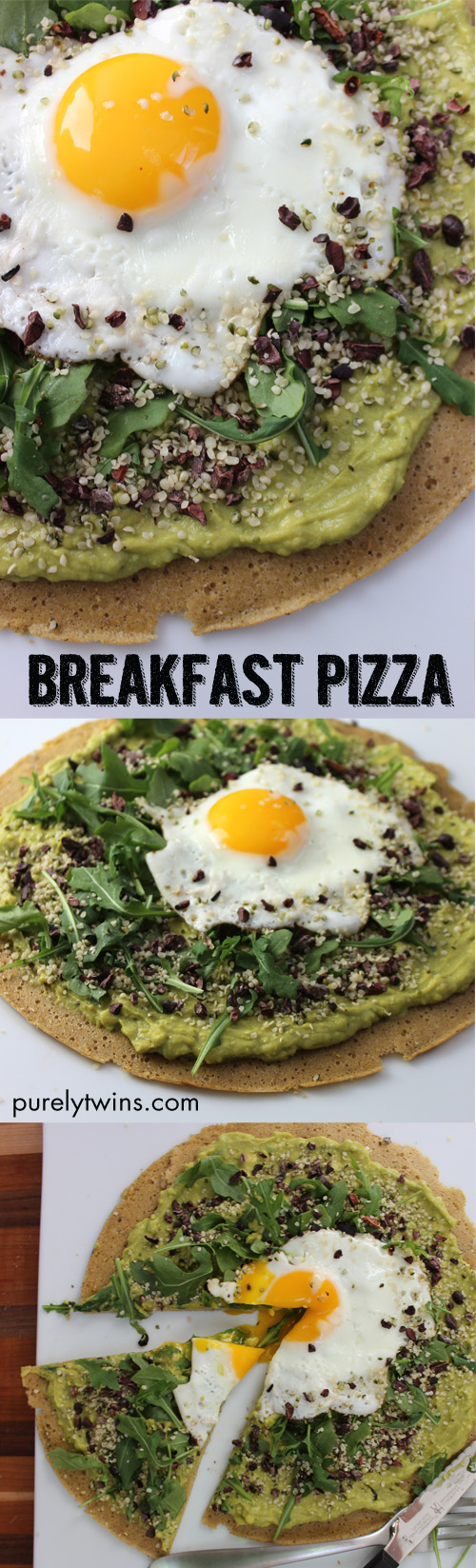 Gluten-free, grain-free breakfast pizza that will fuel you for your busy day ahead. Quick and healthy breakfast pizza. Made from real foods. A warm crust topped with creamy avocado cream, topped with spicy peppery-mustardy arugula, savory hemp seeds, runny egg and cacao nibs for fun.