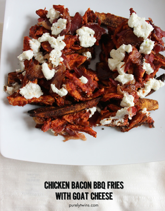 chicken-BACON-BBQ-plantain-fries-topped-with-goat-cheese-healtheri-version-of-homemade-fries-purelytwins