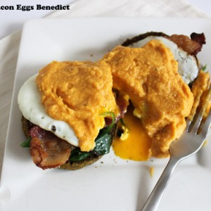 healthy twist on the classic eggs benedict with pumpkin hollandaise sauce that is dairy-free and gluten-free via purelytwins