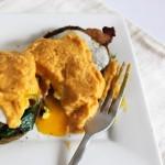 Pumpkin eggs benedict with homemade pumpkin hollandaise sauce