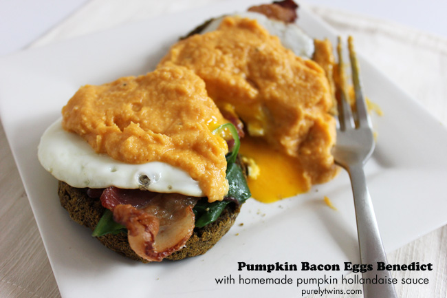 homemade pumpkin bacon eggs benedict with homemade pumpkin hollandaise sauce gluten-free and dairy-free from purelytwins.com