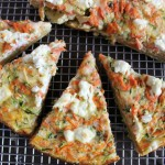 Carrot zucchini goat cheese pie with plantain crust