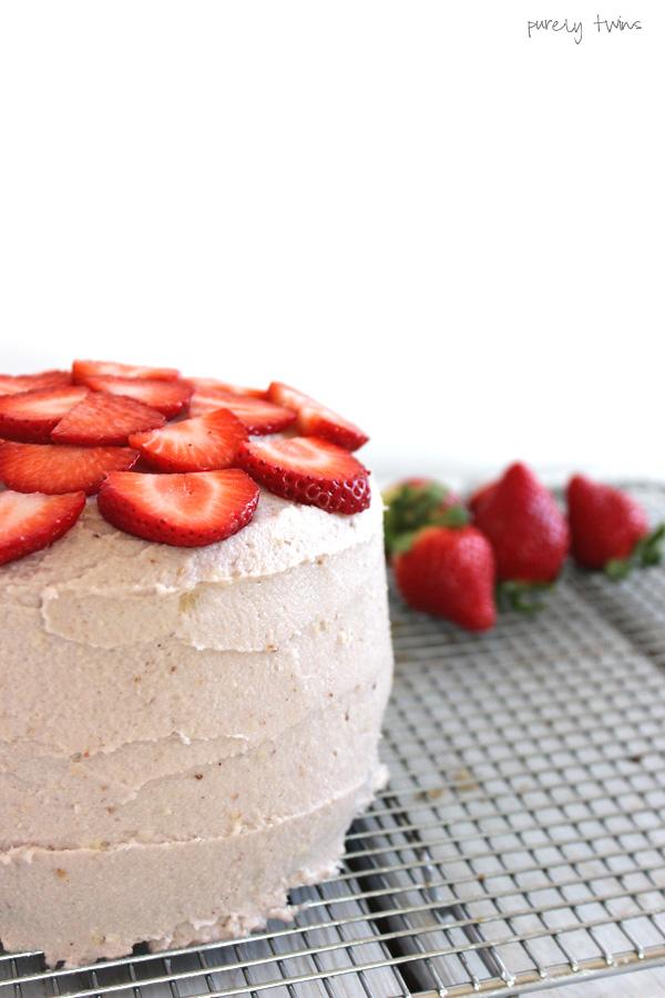 healthy-sugar-free-chocolate-vanilla-neapolitan-layered-cake-with-strawberry-frosting-purelytwins