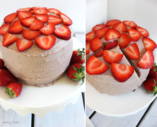 Gluten-free dairy-free chocolate vanilla strawberry cake recipe | purelytwins.com